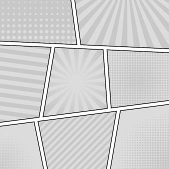 Stripverhaal zwart-wit achtergrond. verschillende panelen. stralen, lijnen, punten.