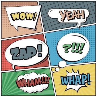 Stripverhalen of vignetten in pop-artstijl met tekstballonnen: wauw, ja, zappen, wham!