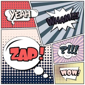 Stripverhalen of vignetten in pop-artstijl met tekstballonnen