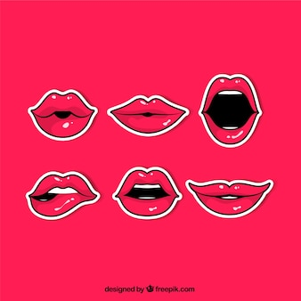 Stripverpakking van rode lippen stickers