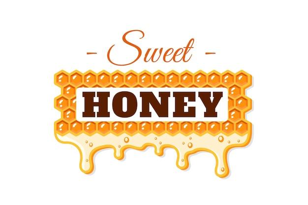 Stromen van honing met honingraat geïsoleerd op een witte achtergrond