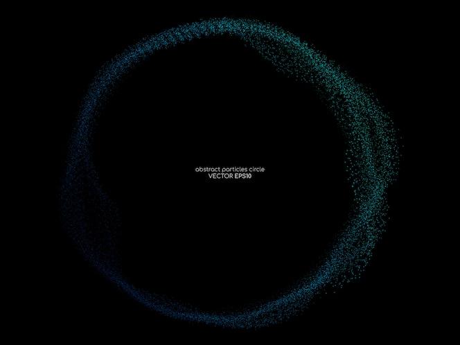 Stromende deeltjes cirkelframe in blauw en groen op zwarte achtergrond.