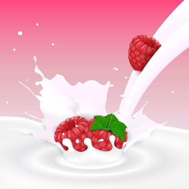 Stromende melkplons met frambozenvruchten