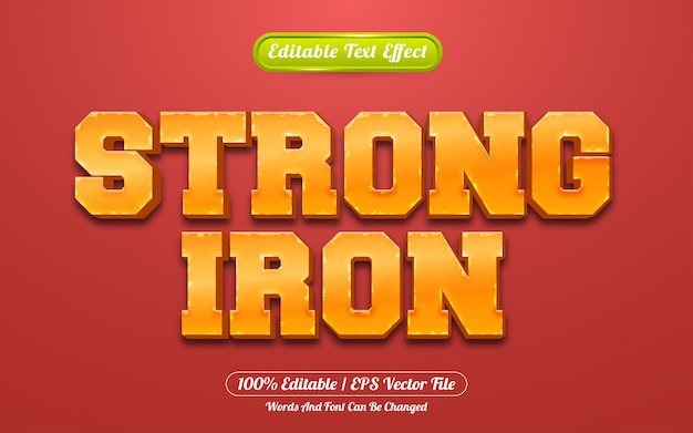 Strong iron 3d bewerkbare teksteffect spelstijl