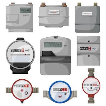 Stroom, gas, watermeter cartoon ingesteld pictogram. illustratie teller op witte achtergrond. geïsoleerde cartoon set pictogram stroom, gas, watermeter.