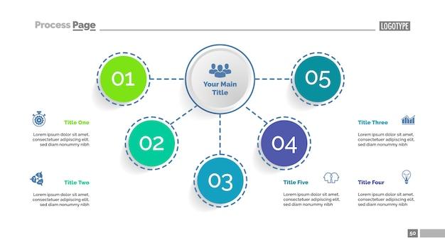 Stroomdiagramsjabloon met vijf elementen. bedrijfsgegevens.