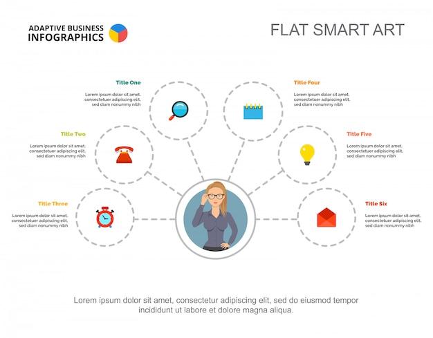Stroomdiagramsjabloon met zes elementen voor presentatie. visualisatie van bedrijfsgegevens.