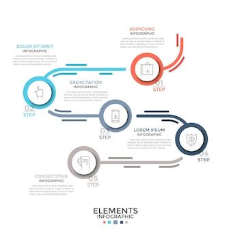 Stroomschema met 5 papieren witte ronde elementen verbonden door gebogen kleurrijke lijn, lineaire pictogrammen en plaats voor tekst. concept van vijf stappen proces. moderne infographic ontwerplay-out. vector illustratie.