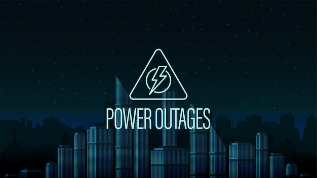 Stroomstoring, gevarendriehoek logo op de achtergrond van de stad zonder elektriciteit