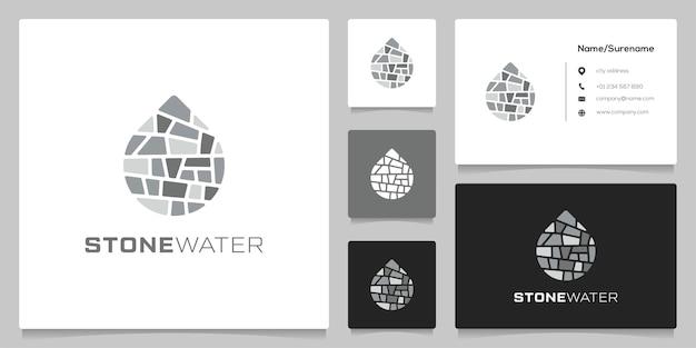 Structuur steen en water grafisch pictogram gebouw constructie logo ontwerp met visitekaartje