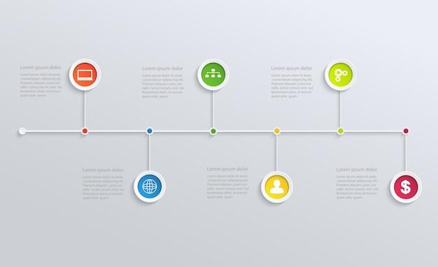 Structuur tijdlijn met pictogrammen bedrijfs