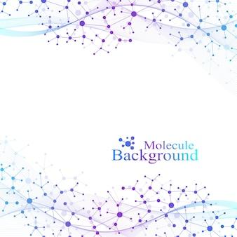 Structuurmolecuul en communicatie. dna, atoom, neuronen. wetenschappelijke molecuulachtergrond voor geneeskunde, wetenschap, technologie, scheikunde. vector illustratie
