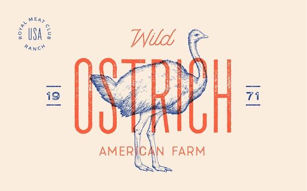 Struisvogel. affiche voor slagerij vleeswinkel met tekst