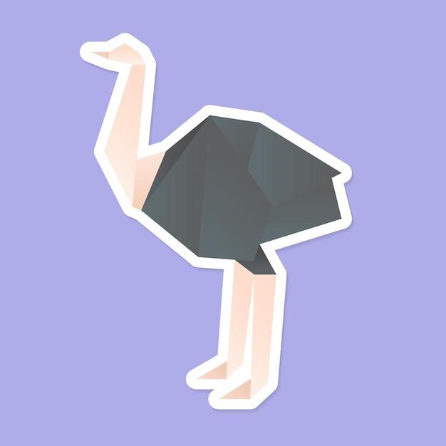 Struisvogel origami papier veelhoek vector