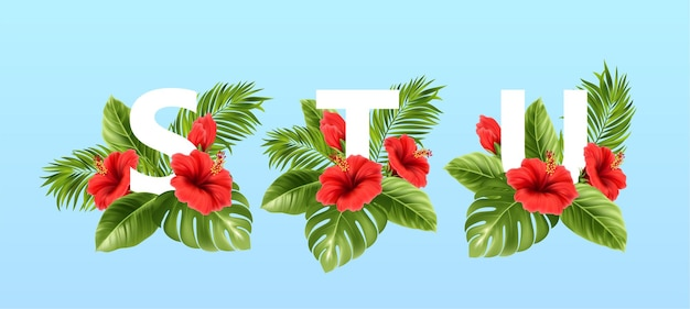 Stu letters omgeven door tropische zomerbladeren en rode hibiscusbloemen