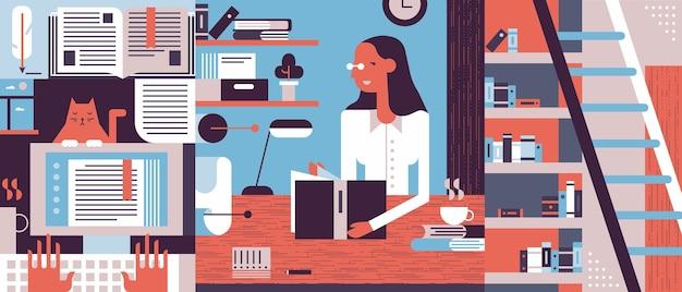Studeerkamer concept illustratie