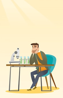 Student die bij laboratoriumklasse werkt.