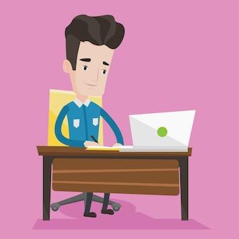 Student die laptop voor onderwijs gebruikt.