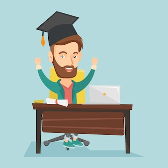 Student die laptop voor onderwijs met behulp van.