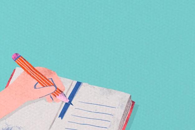 Student die op een notitieboekje schrijft