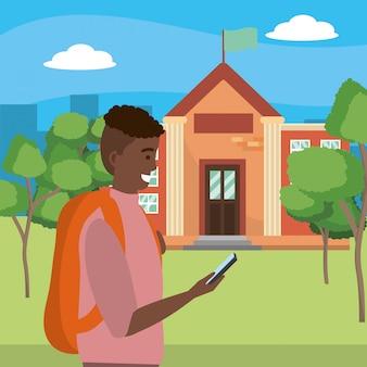 Student die smartphone op campusillustratie gebruiken