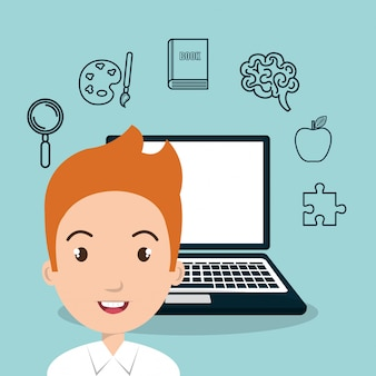 Student e-learning onderwijs pictogram