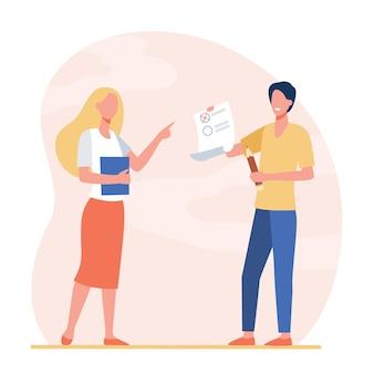 Student geeft test aan leraar. stagiair, tutor, examinandus. cartoon afbeelding