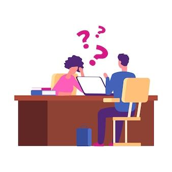 Student heeft problemen bij sollicitatiegesprek. onderzoek, universitair interview vector concept