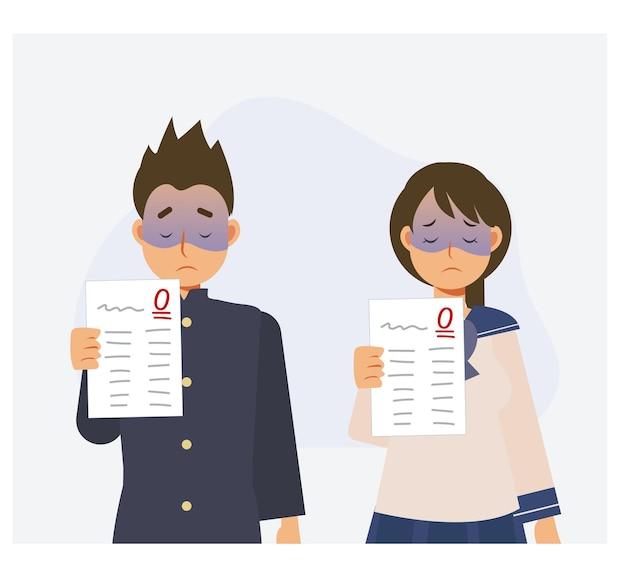Student is niet geslaagd voor de test. mannelijke en vrouwelijke japanse student zijn niet geslaagd voor de test. platte vector cartoon karakter illustratie.
