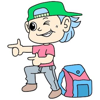 Student jongen cartoon stickers met een coole en verleidelijke stijl, karakter schattige doodle tekenen. vector illustratie
