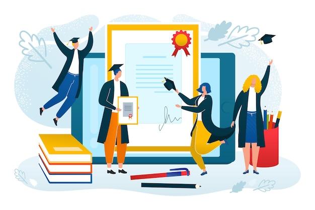 Student krijgt onderwijs online, vectorillustratie. universitair afstudeerconcept, vlak klein mensenkarakter met universiteitsdiploma, krijg kennis. leren op internet, gelukkige student in jurk.