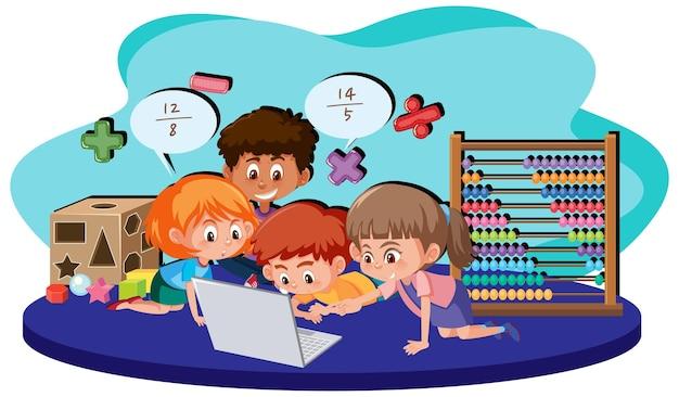 Student leren wiskunde met behulp van computer