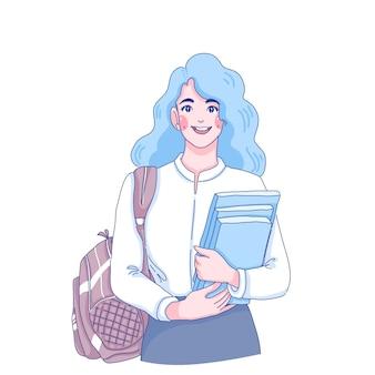 Student meisje houdt boeken karakter illustratie.