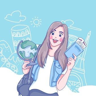 Student meisje karakter illustratie
