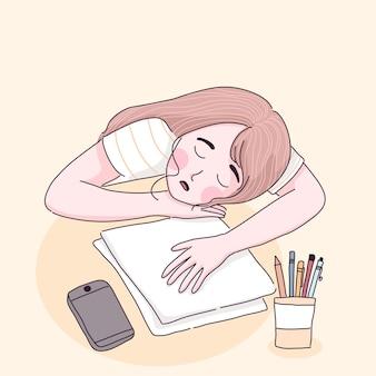 Student meisje leren vanuit huis slapen op de tafel.