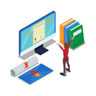 Student met afstudeerstatus op computer. isometrische onderwijs illustratie. vector