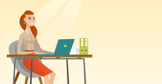 Student met behulp van laptop voor het onderwijs.