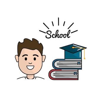 Student met boeken en hoeden afstuderen