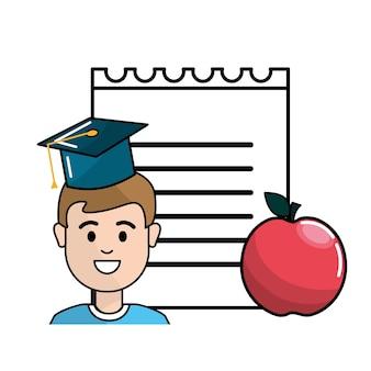 Student met hoed afstuderen, notitieboekje papper en appel