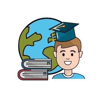 Student met hoedengeschiedenis, globale planeet en boeken