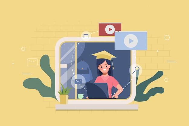 Student met laptop die online onderwijs bestudeert. terug naar school online. werk vanuit huis en blijf thuis. e-learning of e-book concept.