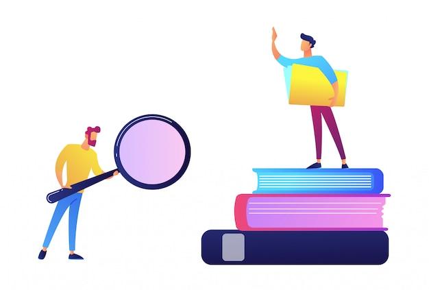 Student met meer magnifier en student die zich op stapel van boeken vectorillustratie bevinden.
