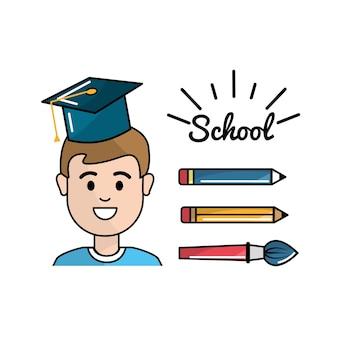 Student met potloden en penseel schooltools