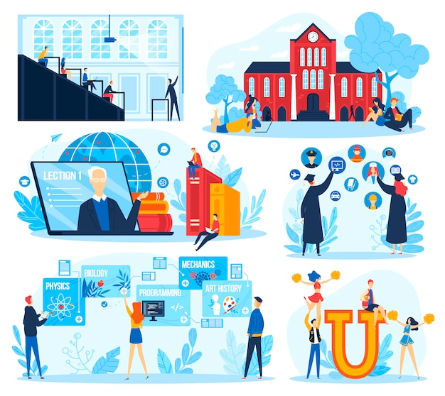 Student onderwijs concept vector illustratie set.