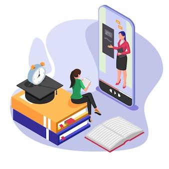 Student praten met leraar op online leerproces. isometrisch e-learning concept met mobiele telefoon.