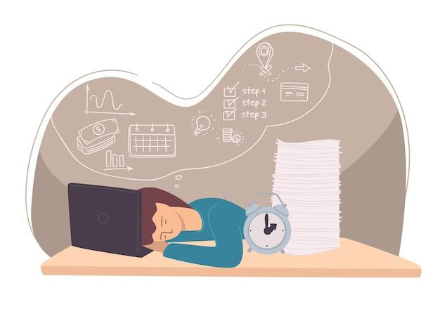 Student slapen door laptop, uitgeputte werknemer of vermoeide freelancer. workaholic of manager met geschriften en klok. deadline en time management problemen, uitputting. vector in vlakke stijl