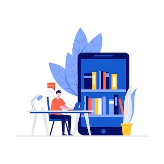Student studeert thuis concept met karakters. digitale onlinebibliotheek op smartphone.