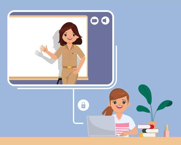 Student studeert thuis met meisje en vrouw