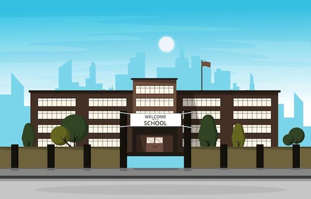 Student terug naar schoolgebouw studie onderwijs vectorillustratie