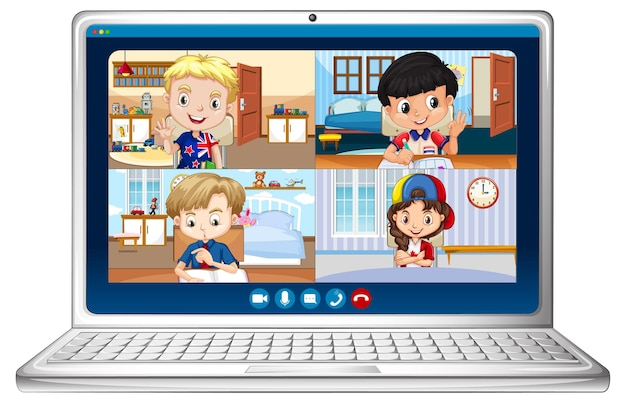 Student videochat online scherm op laptop